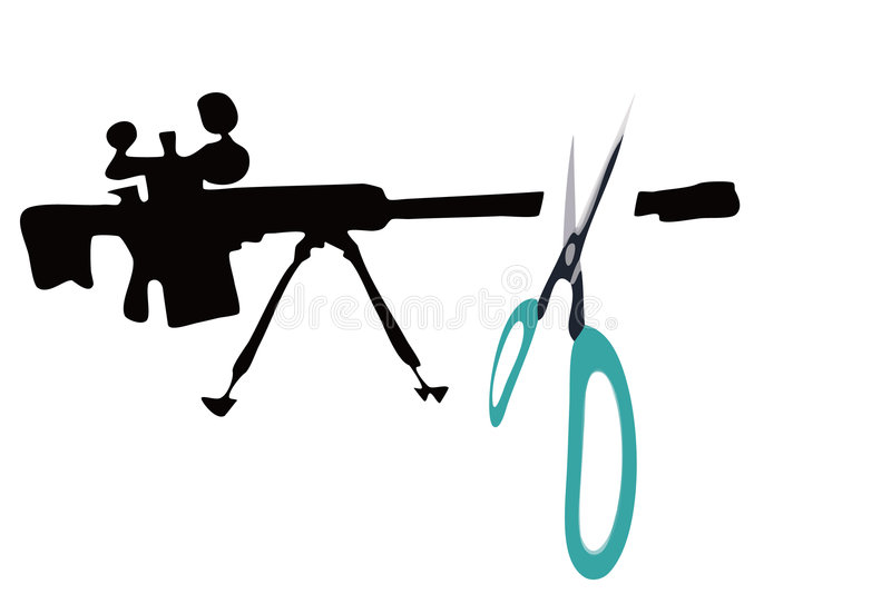Gun and scissors. The scissors cuts the gun royalty free illustration