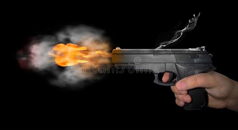 Gun shot with smoke stock photo