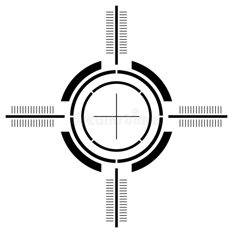Gun sight over white. Gun sight isolated over square white background royalty free illustration