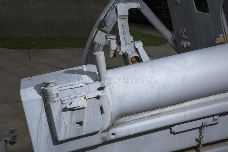 Gun sights and breech. Detail of an old world war 1 artillery gun showing the breech and the sights for aiming stock image