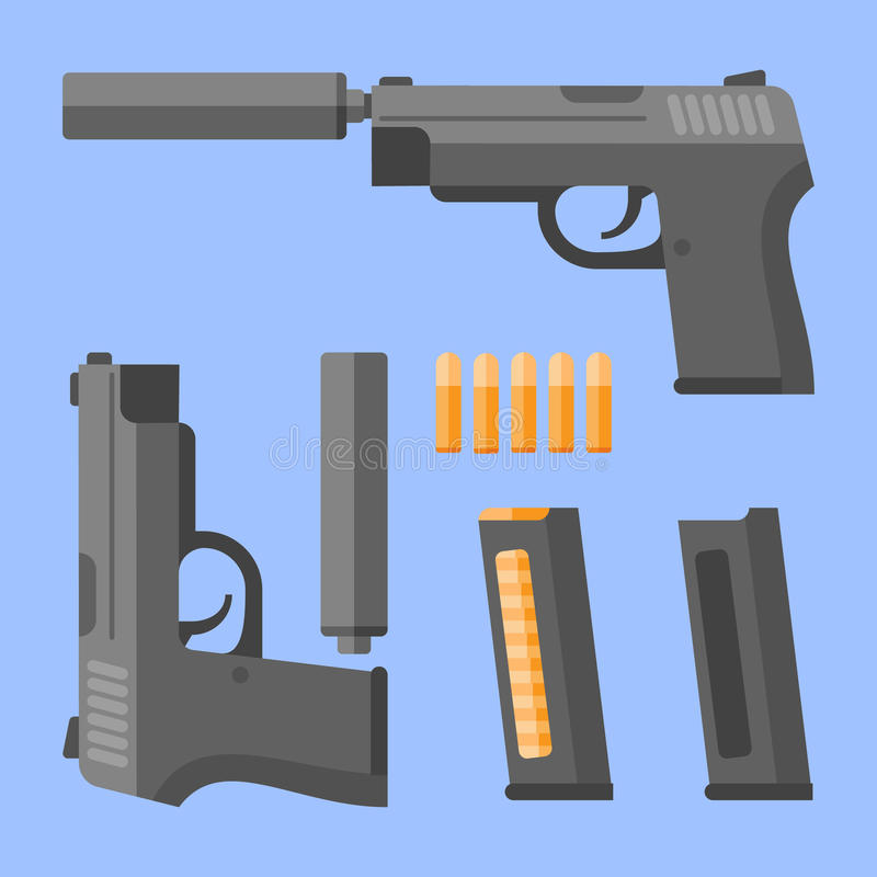 Gun with silencer, magazine and cartridges. Automatic pistol in flat style. Vector illustration. Gun with silencer, magazine and cartridges on blue background stock illustration