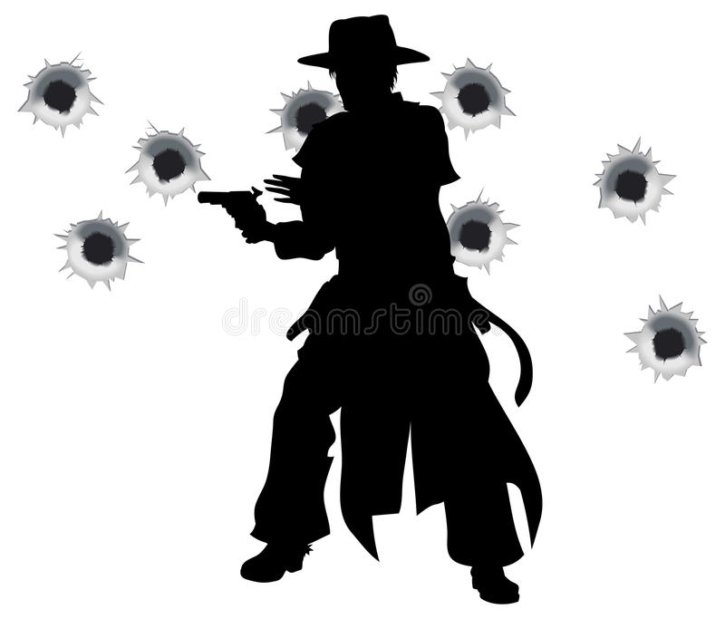 Gun slinger western shoot-out. A wild west gunslinger drawing and firing his gun in a shootout with bullet holes in the background
