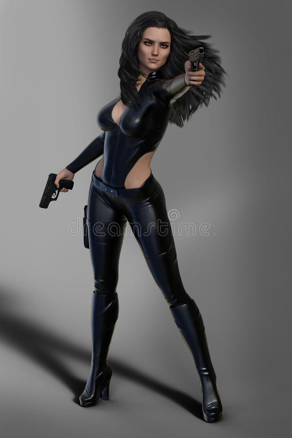 Gun toting Sci-Fi female enforcer with long hair dressed in black leather vector illustration