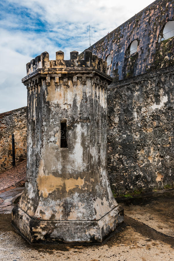 Gun turret inside Castillo San Felipe del Morro. Stone gun turret inside Castillo San Felipe del Morro shaped like a castle royalty free stock photography
