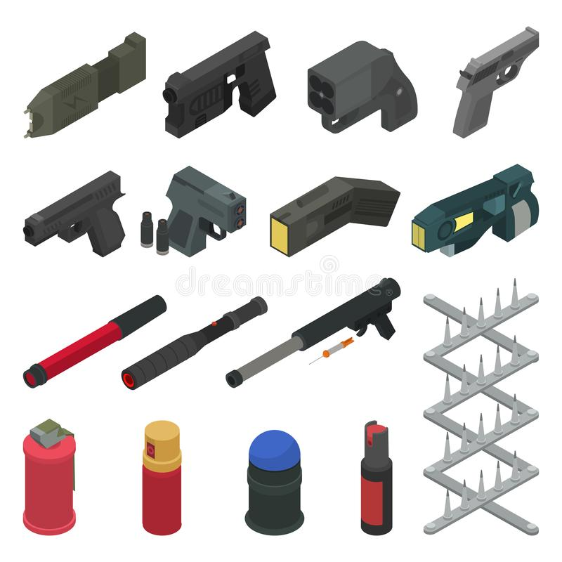 Gun vector handgun shooting weapon pepper spray military firearm illustration army isometric set of weaponry shooter. Isolated on white background royalty free illustration