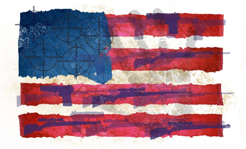 Gun Violence in America Flag Grunge. NRA rifle shooting scope USA hand print second amendment rights control art logo stock illustration