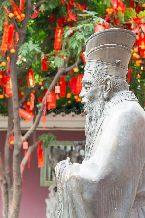 GUNAGDONG, CHINA - Nov 28 2015: Confucius Statue at Foshan Confucius Temple. a famous historic site in Foshan, Guangdong, China. stock images