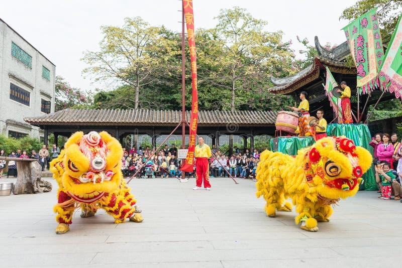 GUNAGDONG, CHINE - 28 novembre 2015 : Lion Dance à Foshan T héréditaire images libres de droits