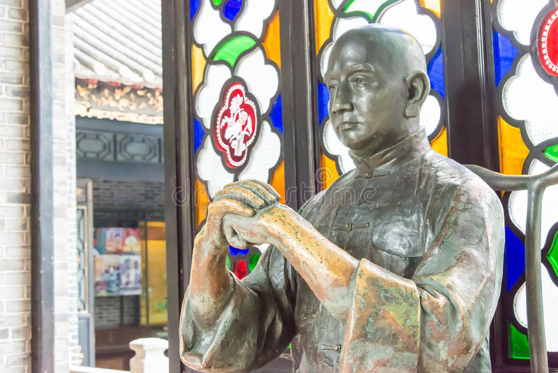 GUNAGDONG, CHINE - 28 novembre 2015 : Wong Fei-a accroché la statue chez Wong Fei photo stock