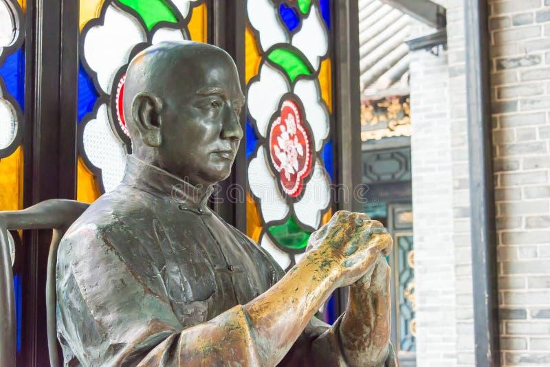GUNAGDONG, CHINE - 28 novembre 2015 : Wong Fei-a accroché la statue chez Wong Fei photographie stock libre de droits