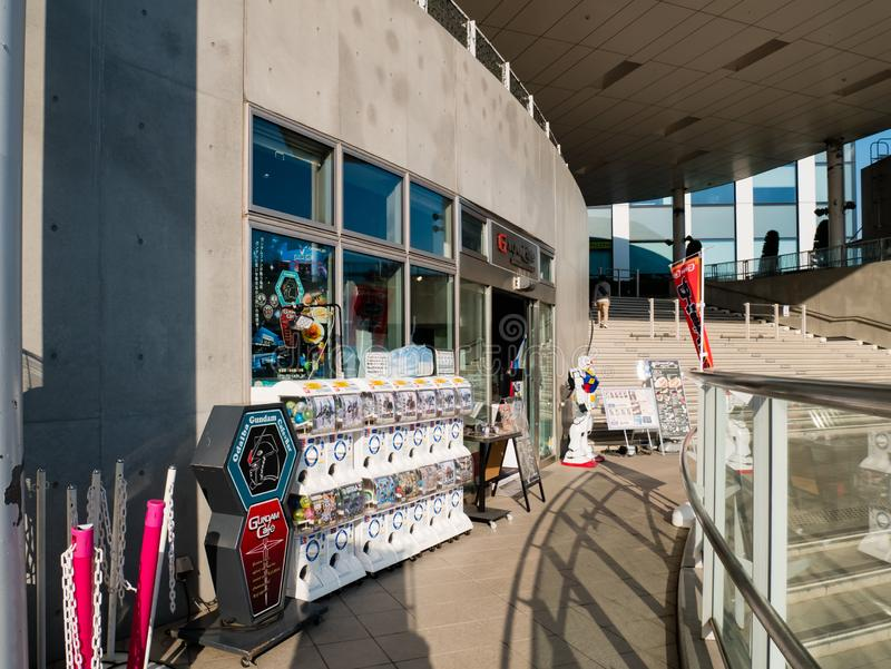 Gundam Cafe, official cafe and shop of Gundam at Diver city plaza Tokyo in Odaiba stock photography