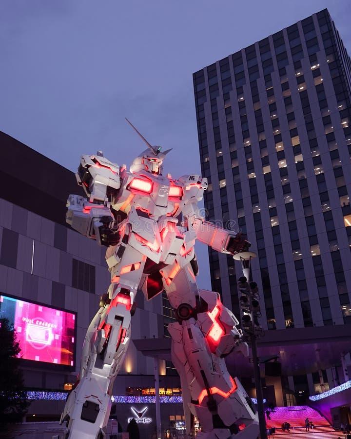 Gundam gigantic robot statue in Odaiba stock photo