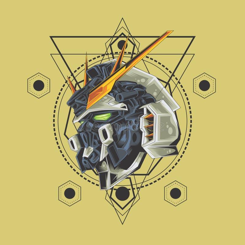 Gundam och sakral geometri stock illustrationer