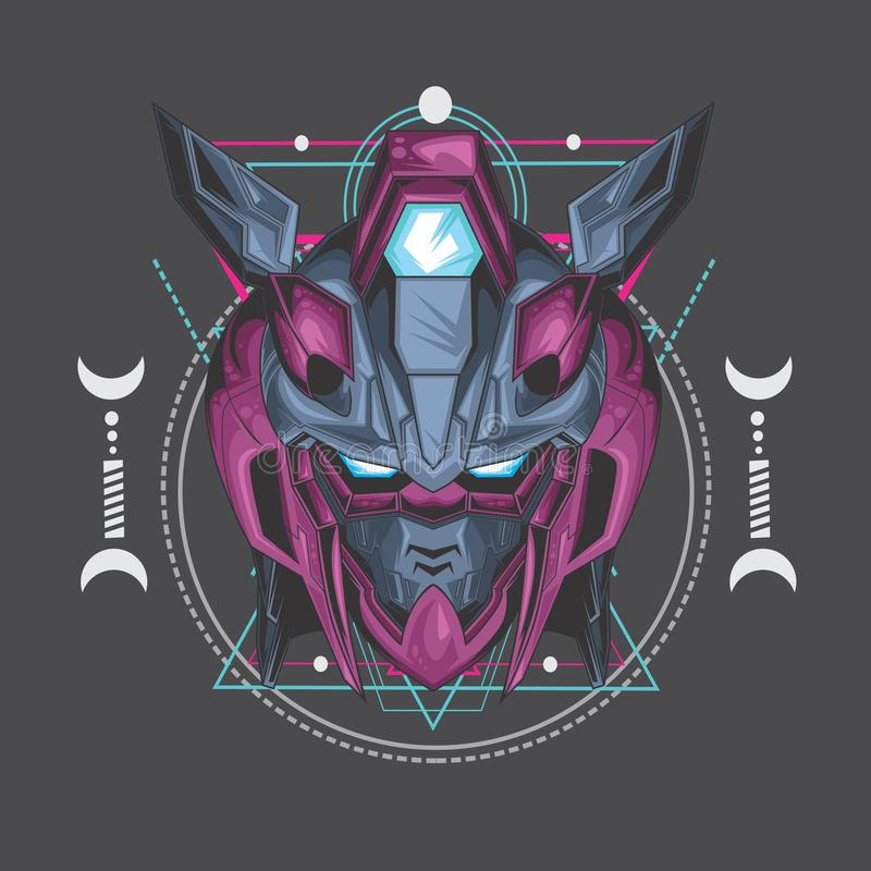 purple poison gundam and sacred geometry vector illustration