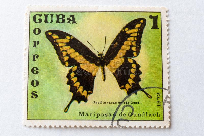 Gundlach Butterfly, a Cuban postal stamp stock photography