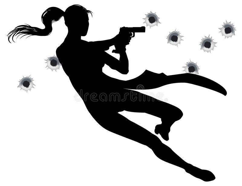 Gunfight action woman. Female heroin leaping through the air in film style gunfight action sequence vector illustration