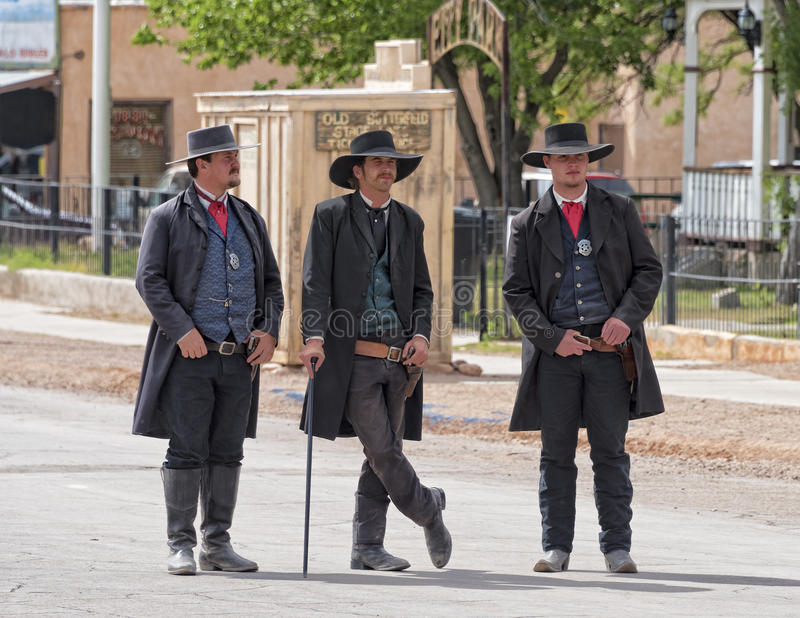 Gunfight At OK Coral. TOMBSTONE , ARIZONA - May 11 : Actors take part in the Re-enactment of the OK Corral gunfight in Tombstone , Arizona on May 11, 2015 royalty free stock photo