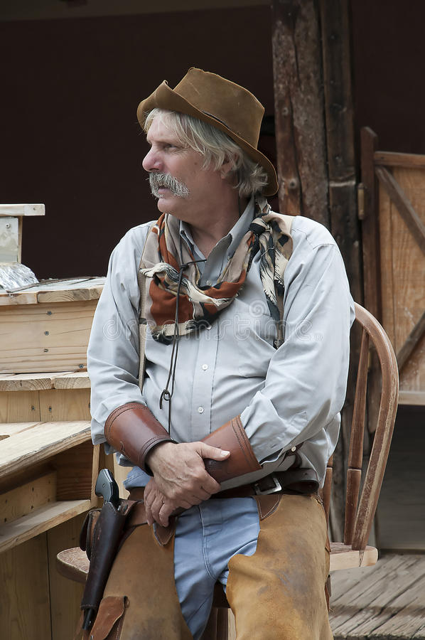 Gunfight at the OK Corral in Tombstone Arizona in the USA. Re-enactors in Tombstone in Arizona where the Gunfight at the OK Corral was fought in the USA. It is royalty free stock photography