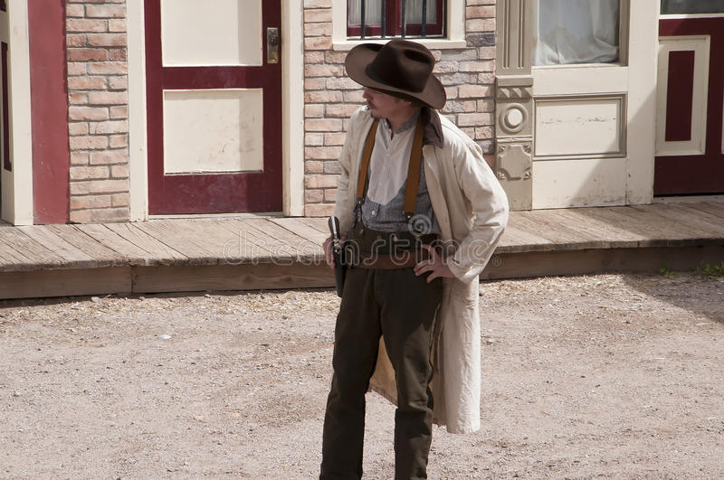 Gunfight at the OK Corral in Tombstone Arizona in the USA. Re-enactors in Tombstone in Arizona where the Gunfight at the OK Corral was fought in the USA. It is stock photography