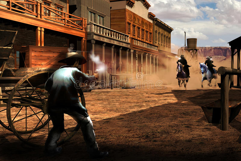 Gunfight in town. In the street of an american old western town, a man fires against two riders who riposte. The bullets of the riders impact against the cart royalty free illustration