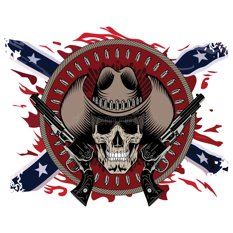 Gunfighter di progettazione Il cranio in cappello da cowboy, due ha attraversato la pistola e le pallottole, sul contesto della b illustrazione di stock