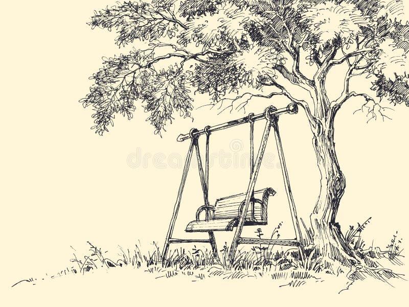 Gunga under trädet stock illustrationer