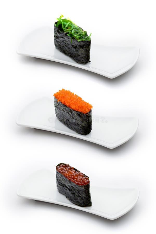 gunkan φύκι τρία χαβιαριών τύποι tobiko στοκ φωτογραφία με δικαίωμα ελεύθερης χρήσης
