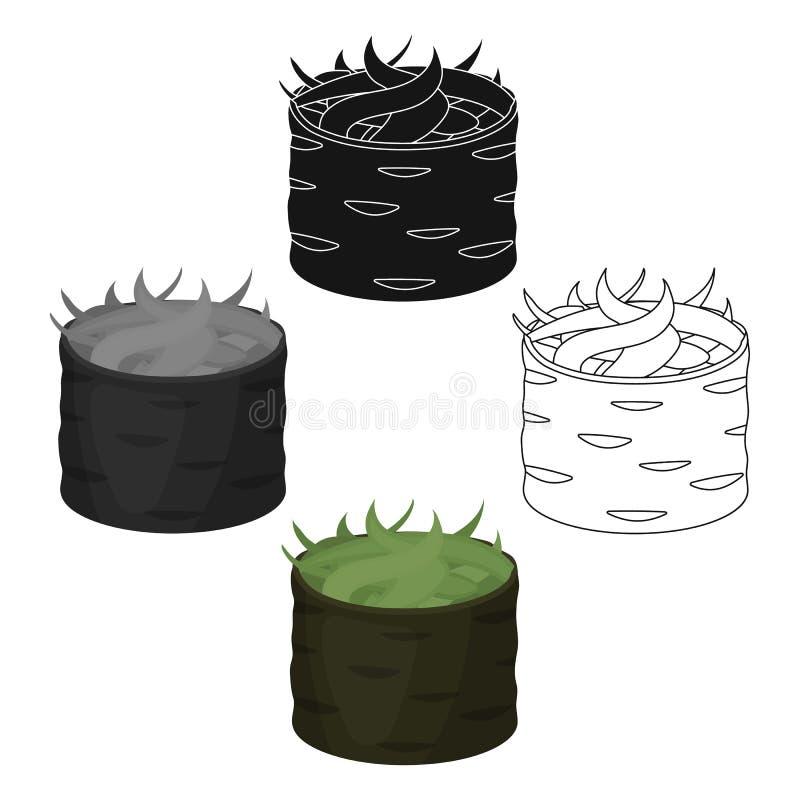 Gunkan maki icon in cartoon,black style isolated on white background. Sushi symbol stock vector illustration. Gunkan maki icon in cartoon,black style isolated royalty free illustration