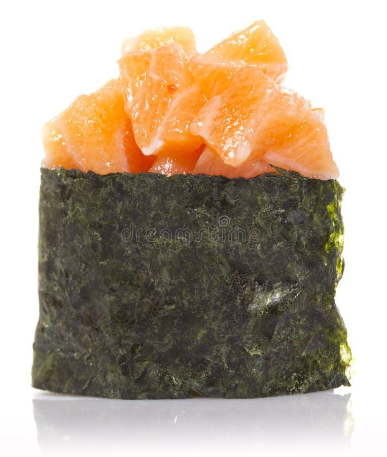 Gunkan Salmon do sushi isolado foto de stock