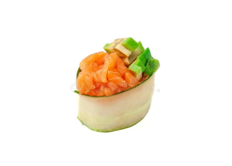 Gunkan sushi with spicy sauce, salmon and avocado. On white background. Isolated. Close-up. Gunkan sushi with spicy sauce, salmon and avocado. On white stock photo