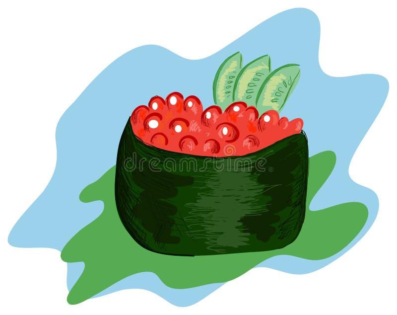 Download Gunkanmaki stock vector. Image of blue, seaweed, drawn - 24757125