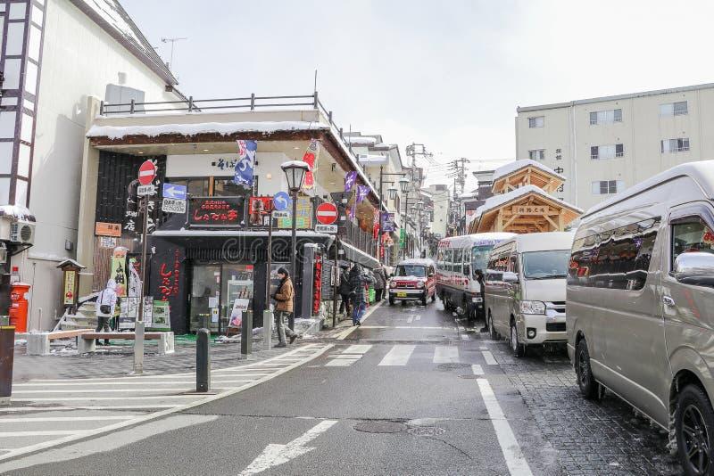 GUNMA, JAPÓN - FEBRERO 18,2018 Kusatsu Onsen es un centro turístico de las aguas termales foto de archivo