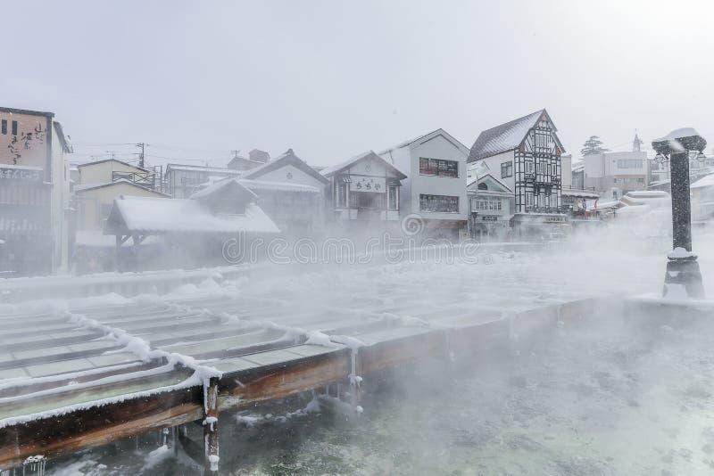 GUNMA,JAPAN - FEB 18.2018 Kusatsu Onsen is een hot spring-resort gevestigd in Gunma Prefecture Japan, een van de drie meest hete stock foto