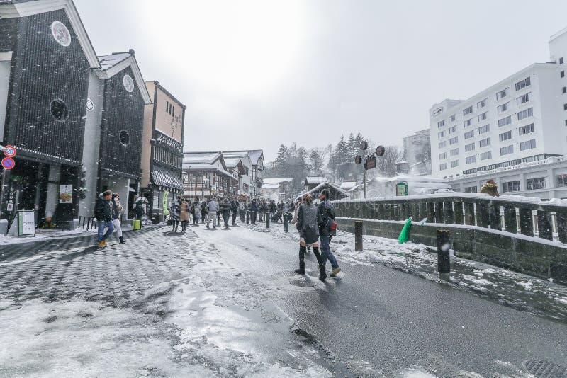 GUNMA,JAPAN - FEB 18.2018 Kusatsu Onsen is een hot spring-resort gevestigd in Gunma Prefecture Japan, een van de drie meest hete royalty-vrije stock foto