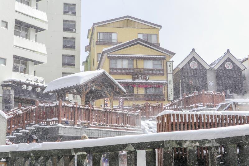 GUNMA,JAPAN - FEB 18.2018 Kusatsu Onsen is een hot spring-resort gevestigd in Gunma Prefecture Japan, een van de drie meest hete stock foto's
