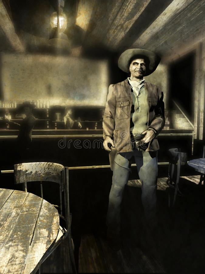Gunman posing in the saloon. Grunge picture of senior cowboy, old gunman, posing for a photo inside a saloon. At his back, a man is drinking and looking at him vector illustration