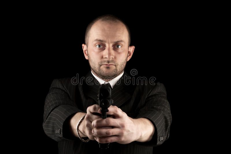 Download Gunman ready to shoot stock image. Image of isolated - 24841289