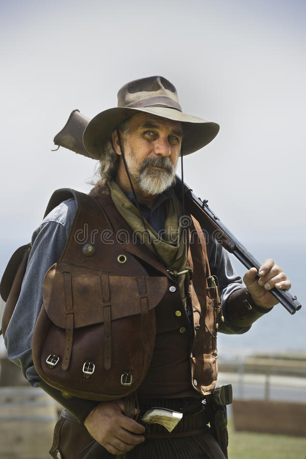 Gunman of the wild West. During a reenactment demonstration at Angels Gate Park in San Pedro CA stock photography