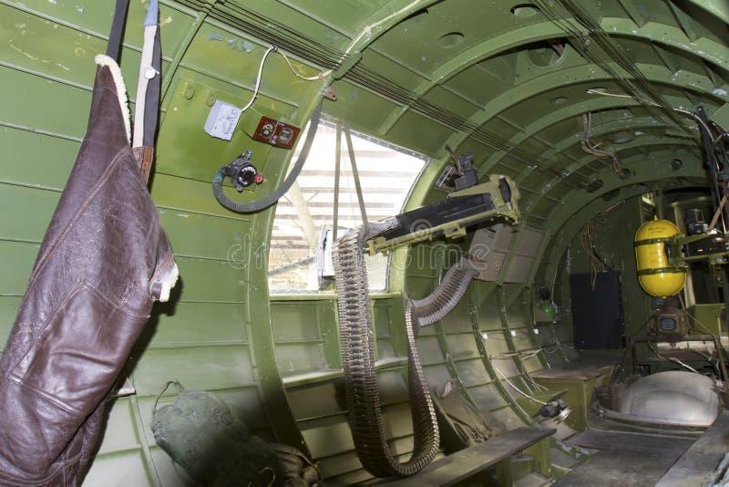 Gunner Turret Inside B-17G bombplan royaltyfria foton