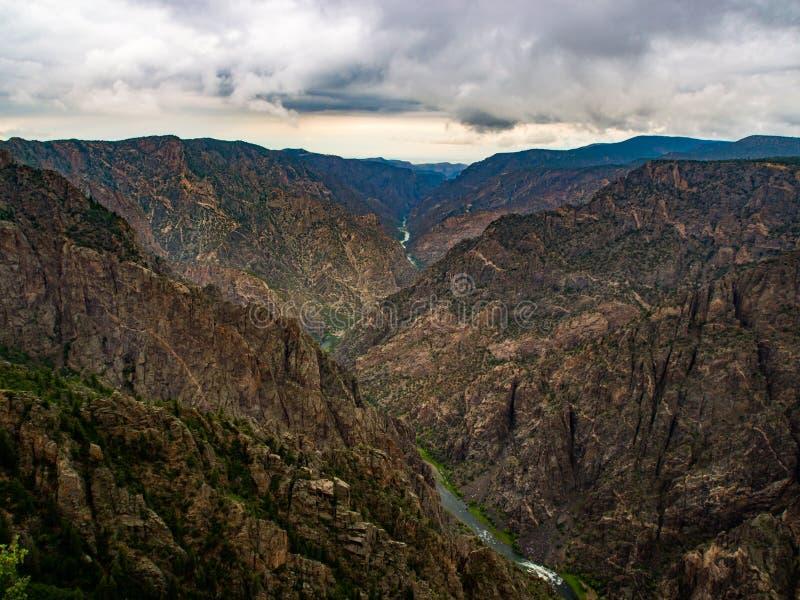Gunnison Overlok,峡谷视图的黑峡谷 库存图片