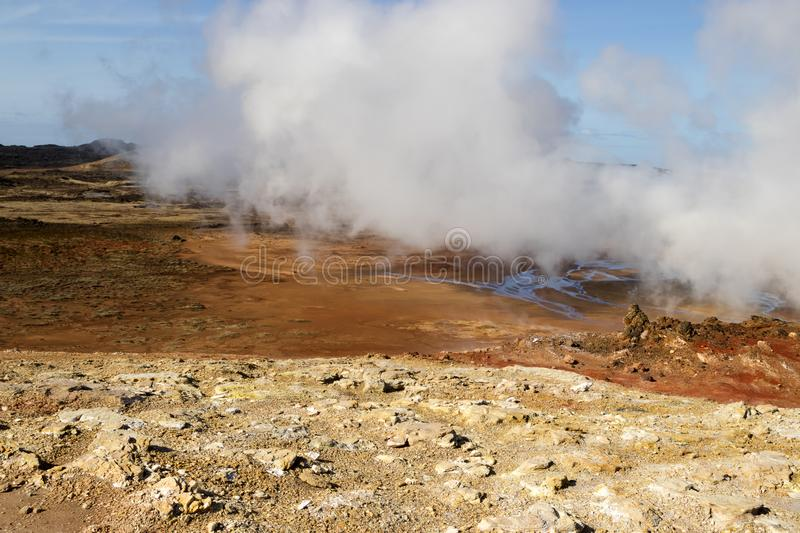 Gunnuhver geothermal area in Iceland. Geyser steam. Amazing geothermal area called Gunnuhver. Geyser steam. Reykjaness peninsula, Iceland stock photos