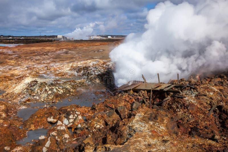 Gunnuhver geothermisch gebied in Reykjanes-Schiereiland van Zuidelijk Ijs royalty-vrije stock fotografie