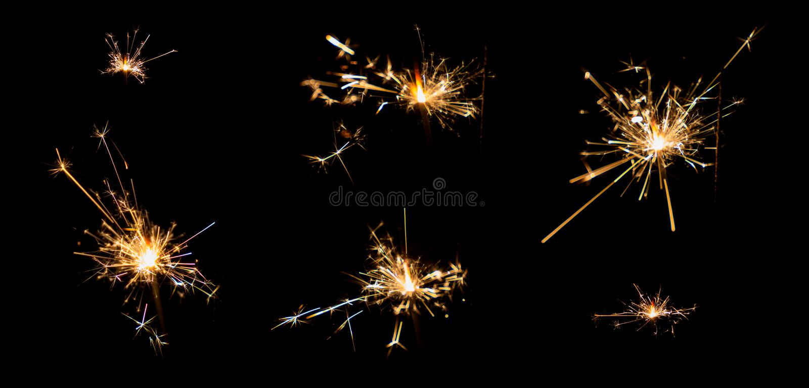 gunpowder sparking after burn . royalty free stock photo