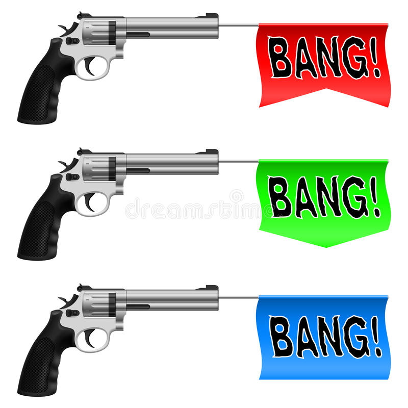 Download Guns with Bang Flags stock vector. Illustration of sheriff - 25873652