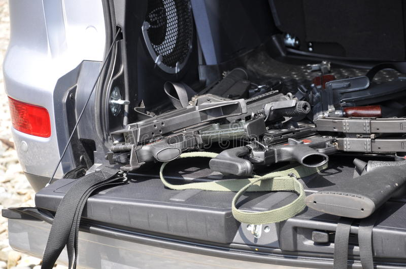 Download Guns in the car stock photo. Image of baggage, carbine - 15029168