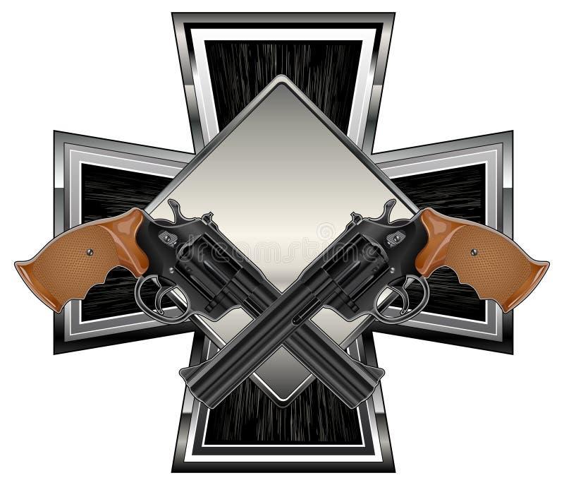 Guns on cross royalty free stock photo