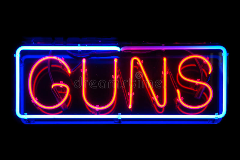 Guns Neon Sign. Isolated on black background royalty free stock photography