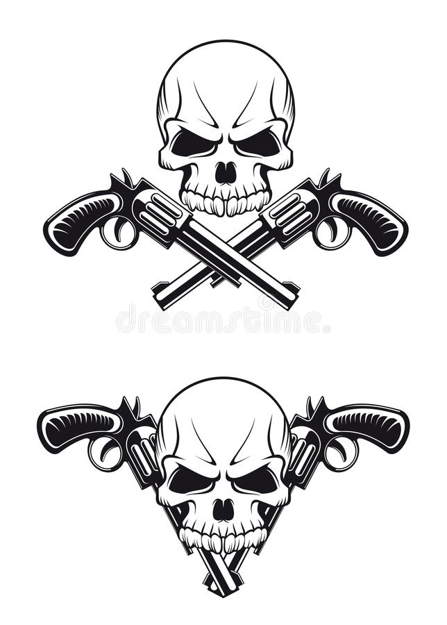 guns skallen royaltyfri illustrationer