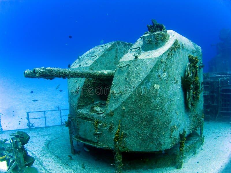 Guns on a Sunken Destroyer. Guns on a Underwater Sunken Destroyer royalty free stock photography