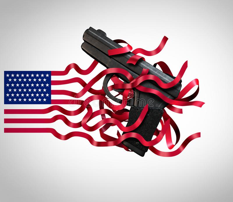 Guns In The USA. And gun violence in the United States and the second amendment of the American constitution as a firearms political social issue 3D vector illustration